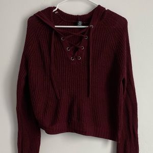 Rue 21 Burgundy Lace-Up Sweater